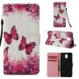 Nokia 3 2018 / Nokia 3.1 (калъф кожен) 'Dark Pink Butterflies'